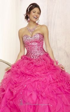 0b734857e20 Beading Strapless Floor-length Pink Quinceanera Dress with Ruffles ...