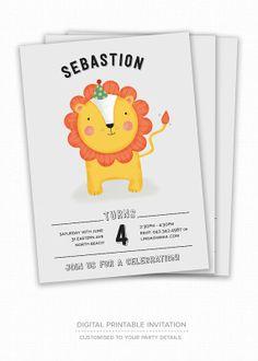 Kid's Birthday Invitation - Lion - Children's Birthday Party Invitation, Boy's Birthday Invitation, Digital Printable Invitation