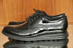 Cole Haan Lunargrand 12 M Wingtip Black Patent Leather Tuxedo Shoe Oxford  #ColeHaan #Oxfords #groomshoes #weddingshoes #mensformalshoes #lunargrand