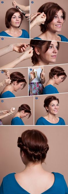 Create a faux updo for short hair using a 1-inch curling iron, a no-slip headband that matches your haircolor, a fine-tooth comb, and hairspray. #diy #beauty This is something I could really use. Its hard to do new and interesting things with a bob!!