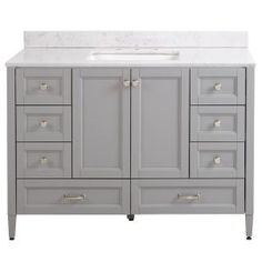 Home Decorators Collection Claxby 49 in. W x 22 in. D Bath Vanity in Sterling Gray with Solid Surface Vanity Top in Silver Ash with White Sink - The Home Depot Gray Vanity, Vanity Sink, Bath Vanities, Vanity Cabinet, Vanity Units, Bathroom Colors, Bathroom Sets, Master Bathroom, Bathroom Designs