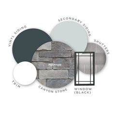 This color palette has us daydreaming of the mountains. Stone Color: Mountain Siding Color: Natural Slate Window Color: Black