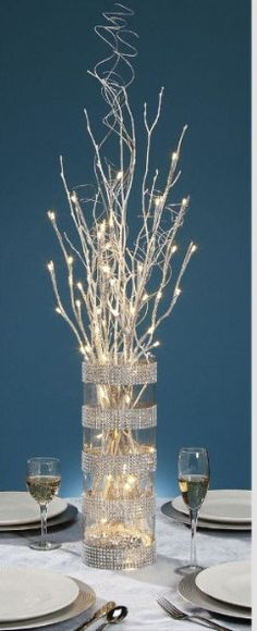 Glittery lighted branches for centerpiece ideas. 27 Inch Silver Glitter Branch with 20 Warm White LED Lights - Battery Operated Branches Allumées, Lighted Branches, White Branches, Branches Wedding, Xmas Decorations, Wedding Decorations, Christmas Decorations For The Home Living Rooms, Christmas Decorating Ideas, Prom Decor