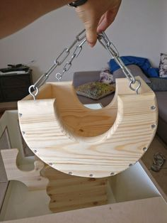 Hanging Boat Shaped Wooden Hideout For Chinchillas And Other Small Pets