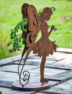 WILLKOMMEN GARTENSTECKER BLECH Gartenfigur Vogel Metall-SCHILD RABE ROST Shabby