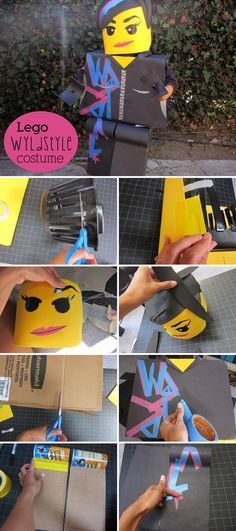 Now here's a Lego lady worth rooting for: she's smart, sassy, a Master Builder, and dating Batman to boot! With this DIY costume, your little girl is sure to save the world. Lego Movie Costume, Lego Halloween Costumes, Diy Girls Costumes, Halloween Crafts, Diy Lego Costume, Halloween Office, Group Halloween, Disney Halloween, Batman Lego