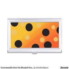 Customizable Dots On Blended OrangeToYellow Business Card Holder