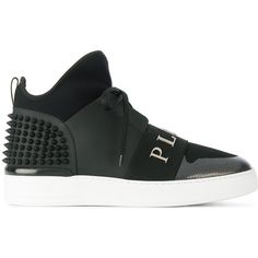 Philipp Plein Limoques hi tops ($1,055) ❤ liked on Polyvore featuring men's fashion, men's shoes, men's sneakers, black, mens black high top sneakers, mens spiked sneakers, mens studded sneakers, mens black sneakers and mens round toe shoes