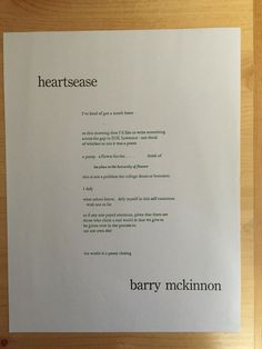 "Title: ""heartsease""Author: Barry McKinnon Poetry Books, My Tumblr, Cover Photos, Self, Author, Blog, Writers, Blogging"