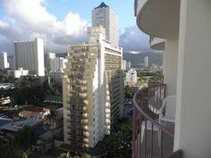 The view from our room at Aqua Waikiki Wave on Kuhio Avenue, Waikiki.