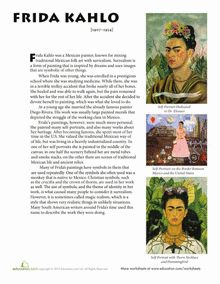 Middle School Social Studies Art History Worksheets: Frida Kahlo Biography Would work for all the artists and composer studies Art History Lessons, History Projects, School Art Projects, Art Lessons, Art History Timeline, Diego Rivera, Art Handouts, Frida Art, Art Worksheets