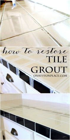 to Restore Grout - the easy way Super easy DIY method to restore old and nasty tile grout. Regrouting Tile, Tiling, Diy Tuiles, Home Renovation, Home Remodeling, Grout Repair, Floor Grout, Clean Tile Grout, Tile Grout Cleaner