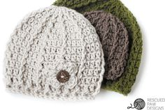 Crochet Beanie Pattern - Swirl Hat by Rescued Paw Designs
