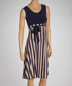 http://www.zulily.com/invite/wstrater641 Love this Navy & Beige Stripe Sleeveless Dress on #zulily! #zulilyfinds