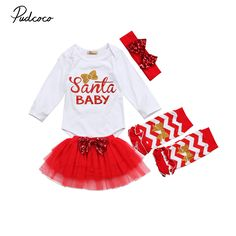 2017 Brand New 4 Pcs Newborn Toddler Infant Baby Girl Santa Romper Tulle Skirt Leg Warmer Outfits Red Xmas Set Christmas Clothes #ChristmasOutfit