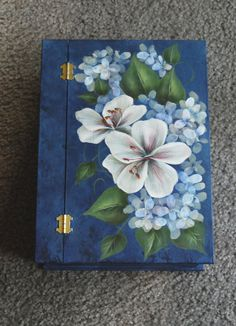 Blue Floral Box by ArtfulM on Etsy One Stroke Painting, Tole Painting, Fabric Painting, Painting On Wood, Painted Boxes, Hand Painted, Donna Dewberry Painting, Decoupage Box, Painting Inspiration