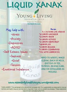 'Liquid Xanax' essential oil blend - recipe & uses  I wonder how well this works... might have to try it...