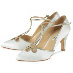 Yvonne by Benjamin Adams Ivory Silk and Gold Leather Designer Wedding or Occasion Shoes - SALE