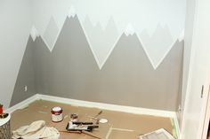 Creating the perfect toddler bedroom, including a simple DIY mountain wall mural with help from the Home Depot Canada. Kids Wall Decor, Baby Room Decor, Diy Bedroom Decor, Bedroom Sets, Kids Room Murals, Kids Room Paint, Big Girl Bedrooms, Baby Boy Rooms, Ideas Habitaciones