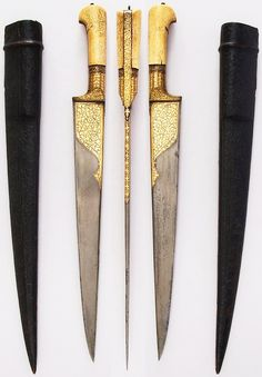 Afghanistan khyber knife,18th to 19th century, steel, bone, gold, iron, wood, leather Dimensions: L. with sheath 21 1/2 in. (54.6 cm); L. without sheath 20 1/16 in. (51 cm); L. of blade 14 1/2 in. (36.8 cm); W. 1 13/16 in. (4.6 cm); Wt. 13.5 oz. (382.7 g); Wt. of sheath 4.8 oz. (136.1 g), Met Museum, Bequest of George C. Stone, 1935.