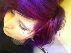 Plum,violet,turqoise and tulip mixed haircolor