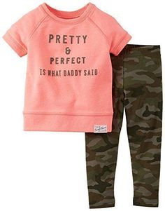 Carters Girls Baby Pretty & Perfect Legging Set 9 Month Pink camo #babygirlcamo