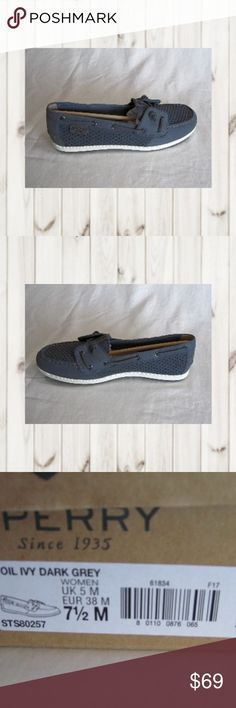 Sperry Top Sider Coil Ivy Perforated Boat Shoe Sperry Top Sider, Coil Ivy, Perforated, Women's Size 7.5M, Dark Gray Boat Shoe. Leather lace - padded insole. NWB.  (CL-PM,EB) Sperry Shoes Flats & Loafers