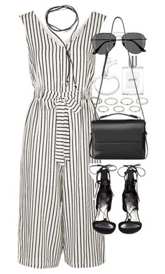 """""""Outfit with a striped jumpsuit for a night out"""" by ferned ❤ liked on Polyvore featuring Akira, Topshop, Stuart Weitzman, philosophy, H&M, Monica Vinader, BlackMoon and AllSaints"""