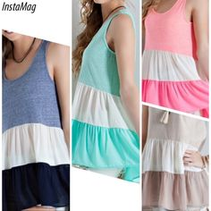"""COLORBLOCKED BABYDOLL TOP Just adorable! Lightweight, partially sheer. 50% polyester, 38% cotton, 12% rayon. Made in USANWOT.PLEASE DO NOT BUY THIS LISTING, I WILL MAKE YOU YOUR OWN. SPECIFY COLOR AND SIZE.BLUE, TAUPE, MINT OR PINK.Blue sold out in Large. ‼️Large bust measures 38"""" but it stretches to 47""""‼️ tla2 Tops"""