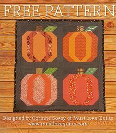 Pumpkin Block, Pumpkin Patch, Pumpkin Quilt by Must Love Quilts