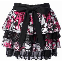 SUPER LOVERS 80's Pattern Tiered Skirt (Pink)