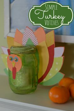 Turkey Votive with mason jar and craft paper www.ciburbanity.com
