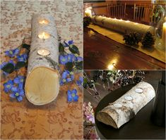Birch trunk Deco-table-tea-light-holder-rustic-flair - The most beatiful home designs Tree Trunk Table, Picture Fails, Deco Table, Diy Wedding Decorations, New Years Eve Party, Tea Light Holder, Birch, Tea Lights, Diy And Crafts