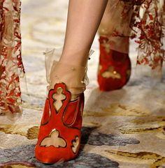Shoes: The OUCH Report - red suede + gold metallic trimmed cut-outs + netting + beading