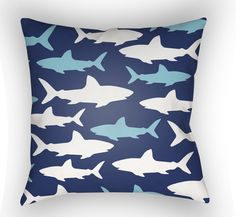 Shark Tank Pillow - Blue and White