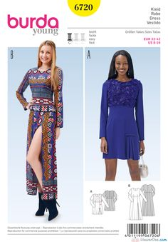 Burda 6720 Misses' Dress Miss Dress, Easy, Home Decor Fabric, Pattern Fashion, Sewing Patterns, Style Patterns, Sewing Crafts, Creative, Inspiration