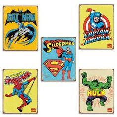 @Natasha S Sutila Sutila Romero  vintage superhero signs. Ordering these for ace's super hero bedroom!!