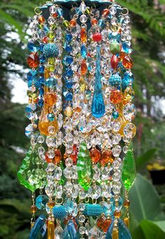 Jeweled Bohemian Spice Antique Crystal Wind Chime.