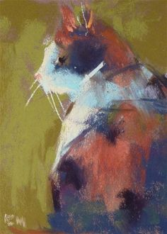 Calico Love  original pastel painting   miniature by Karen Margulis