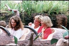 25 August 1993: Princess Diana captured on camera at Walt Disney World in Florida. Diana, Kate Menzies, and Catherine Soames aboard Splash Mountain