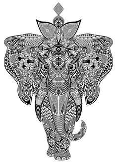 """Elephant Zentangle Doodle Black and White"" Drawing by bluedarkart-lem buy now as poster, art print and greeting card. Zentangle Elephant, Elephant Art, Elephant Tattoos, Black Tattoos, Body Art Tattoos, Sleeve Tattoos, Tatuajes Animal Print, White Owl Tattoo, Animal Posters"