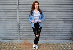 Love this look!!! striped, jens and destroyed!!