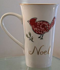 222 FIFTH NATALA LATTE MUG CUP NOEL COFFEE TEA NEW 18 OUNCE RED  GOLD #222Fifth