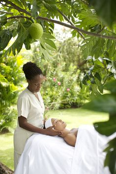 Relaxing massage in the garden