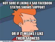 """""""Liking"""" sad Facebook status."""