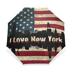 Kelly Dream Custom I Love New York American Flag Foldable Rain Sun Umbrella Windproof Travel Umbrella ** You can find out more details at the link of the image.