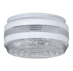 """Disk Drum Porch and Utility Room 10"""" Glass Ceiling Light Shade. Retro Lighting Replacement for flush mount ceiling light fixture for Bathroom, Laundry, Kitchen, or Porch. #RetroUtility #LightingReplacement"""