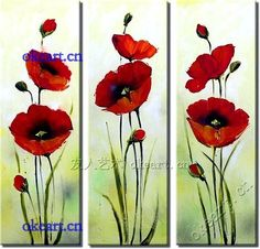 "Free shipping Poppy Flower""decorative Impressionism Hand painted Gift art painting 3 pcs"