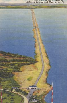 TAMPA and CLEARWATER, FLORIDA, Aerial View of Davis Causeway, Vintage Linen Postcard, Unused, 1940s, Hillsboro News Co. by AgnesOfBohemia, $4.99