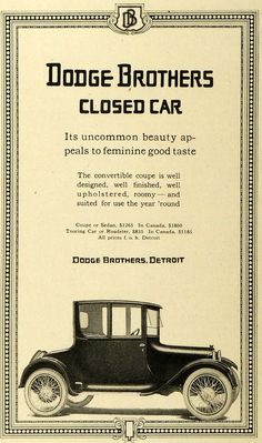 This is an original 1917 black and white print ad for the Dodge Brothers line of Closed Cars, specially featuring the Convertible Coupe, CONDITION This 94+ year old Item is rated Very Fine +++. Light